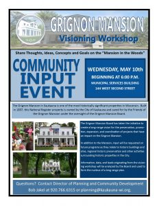 Grignon Mansion Visioning Workshop and Community Input Event @ Council Chambers - Municipal Services Building